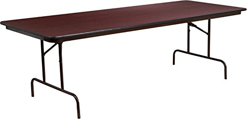 Flash Furniture 36'' x 96'' Rectangular Mahogany Melamine Laminate Folding Banquet Table