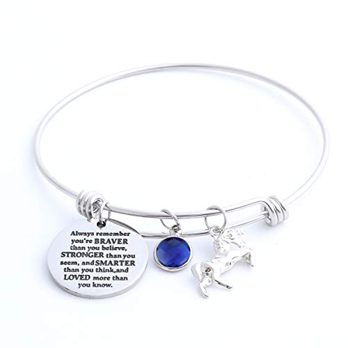 Inspirational Jewelry Birthstone Bracelet for Girls Women, Stainless Steel Expandable Wire Bangle, Engraved with Always Remember You are Braver (September)