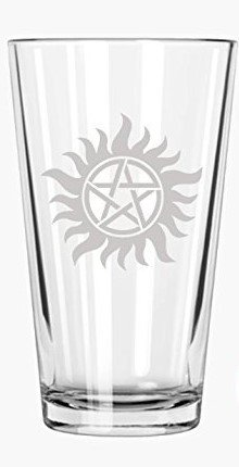 Supernatural: Anti-Possession Symbol - Etched Pint Glass Brindle Natural
