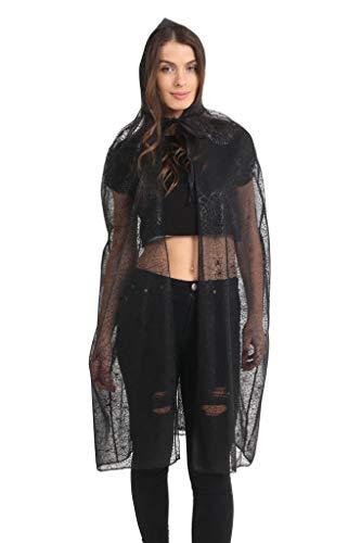 (Momo&Ayat Fashions Ladies Spider Tutu Cape Mesh Halloween Costume- Mix & Match (Cape- Hooded- Black,)