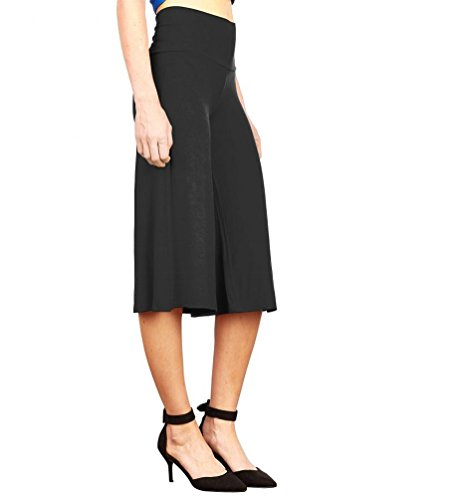 Sipaya Women's Casual Lounge Skinny Fold-Over Waist Cropped Pants With Wide Leg Black (Fold Over Cropped Pant)