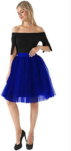 NVDKHXG 5 Capas 60 cm Falda de Tul Midi Princesa para Mujer Tutu ...