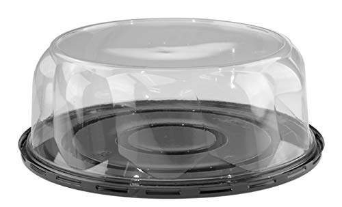 (10B35S Pactiv Tall Swirl Cake Dome & Base Clear/Black 3.5