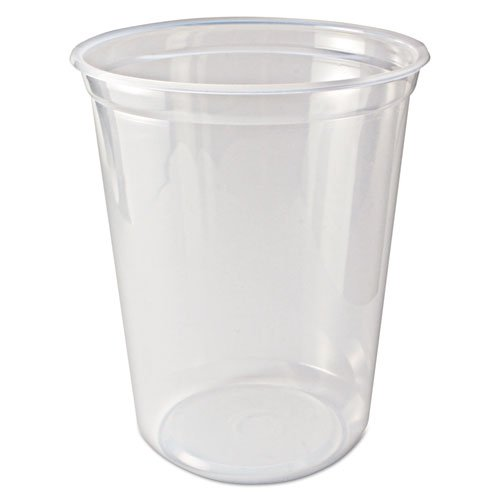 Quart Container 1 Plastic (Fabrikal PK32T 32 oz. Clear Round Pro-Kal Microwavable Deli Container - 500 per Case)