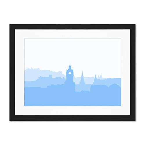 Cityscape Wall Bracket (Scotland Geometric Cityscape Edinburgh Blue Large Art Print Poster Wall Decor 18x24 inch Supplied Ready to Hang with Included Mount Brackets)