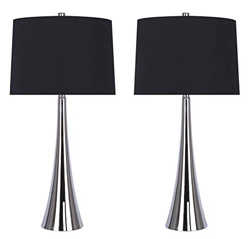 "Grandview Gallery 29.5"" Polished Nickel Mirrored Metal Table Lamp Set Featuring Tapered Curve Design and Black Silk-Like Drum Shades - Modern Lighting Perfect for Nightstands and End Tables (Set of 2)"