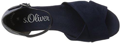 s.Oliver 28129, Zapatos de Punta Descubierta para Mujer Azul (NAVY COMB. 891)