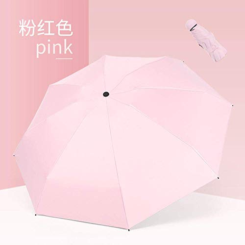 GGJYW Black Plastic Sunscreen Umbrella Japanese Small Fresh Automatic Umbrella Simple Solid Color Black Plastic Sunscreen Umbrella_21 Inches,Off Black Pla