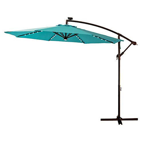 - C-Hopetree 10' LED Outdoor Cantilever Hanging Offset Umbrella with Solar Lights for Large Patio Table Outside Balcony or Pool, Aqua Blue