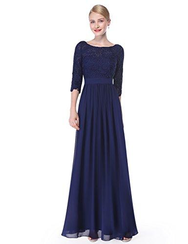 Manica 4 Lungo Blue Pretty 3 Da Sera 08412 Pizzo 34 Ever Con Donna Abito Navy Elegante In 8nAWHUxB