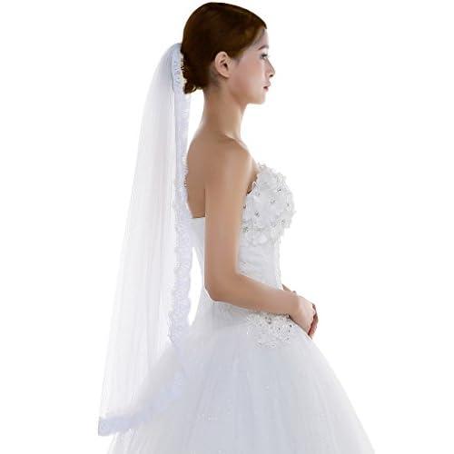 20a655e17 hot sale Edith qi 1 capa encaje borde de tul velo de novia de la boda
