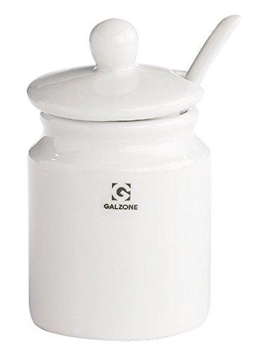 Galzone Senftopf mit Deckel Porzellan weiß