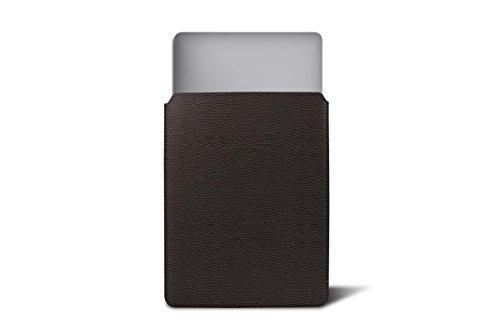 Lucrin - Schutzhülle für MacBook 12 Zoll - Mausgrau - Leder genarbt Braun