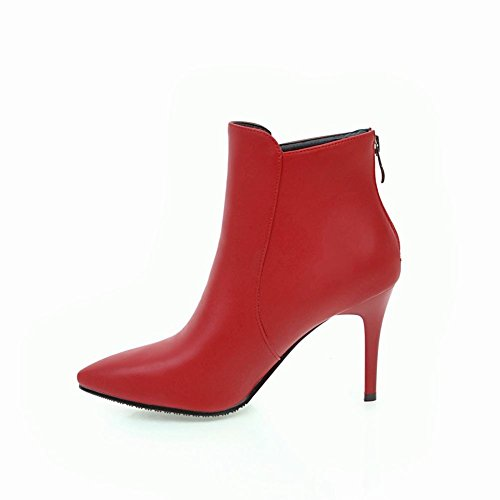 Mee Shoes Women's Chic High Heel Zip Pointed Toe Short Boots Red PGM8jH