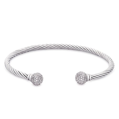 "Bracelet Yurman David Cuff (Victoria Townsend Elastic Adjustable Twisted Cable Open Cuff Bangle Bracelet with Crystal Balls, 7.25"")"