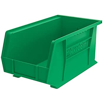 Image of Akro-Mils 30240 Plastic Storage Stacking Hanging Akro Bin, 15-Inch by 8-Inch by 7-Inch, Green, Case of 12 Home Improvements