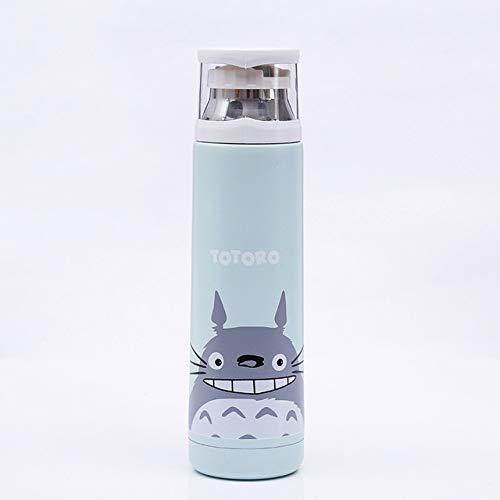 qwert 350 / 500ml Botella Termo de Acero Inoxidable de Doble Pared de Dibujos Animados para Agua al vacio Linda Taza Termo para Regalo de Pareja de ninos, Totoro Azul, 350ml