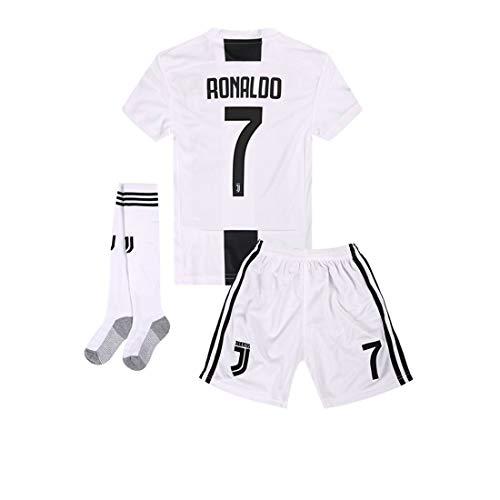 (Yanfirstfc Juventus Home #7 Ronaldo 2018-2019 Kids/Youth White Soccer Jersey & Shorts & Socks 8-9Years/Size 24)