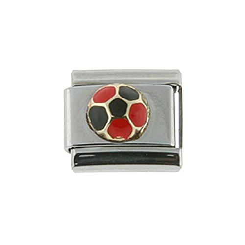 Stainless Steel 18k Gold Italian Charm Bracelet Link Soccer Ball Red & Black Charm 9mm (Italian Ball Soccer Gold)