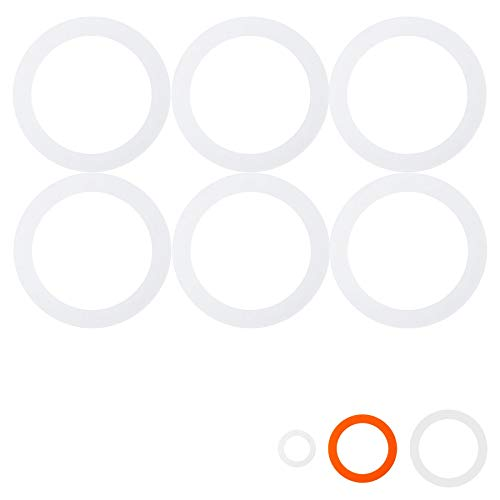 (Argon Tableware Silicone Seals Rings for Glass Storage Jars - 87mm - for Jar Sizes 350ml to 3L - Orange - Pack of 6)