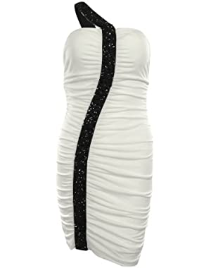 Guess Women's Pamela Beaded One Shoulder Ruched Jersey Dress