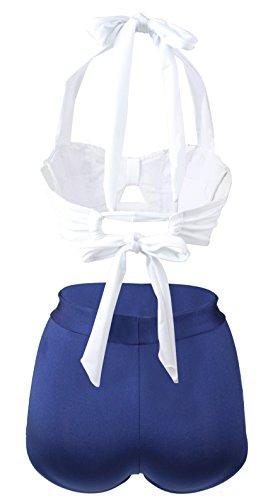 Gigileer - Bikini estilo Vintage años 50,Talle Alto, cuello halter White & Blue