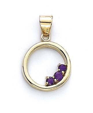 Améthyste 14 carats avec pendentif en forme de cercle Motif JewelryWeb