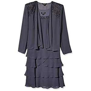 S.L. Fashions Women's Embellished Tiered Jacket Dress (Petite and Regular)