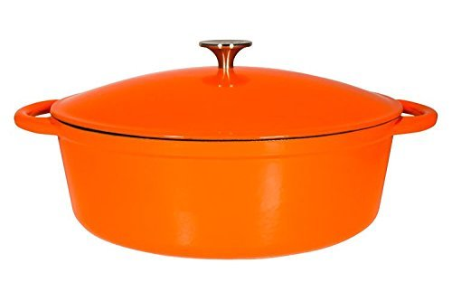 Le Chef Enamel Cast Iron Orange Oval Dutch Oven 7 Qt.