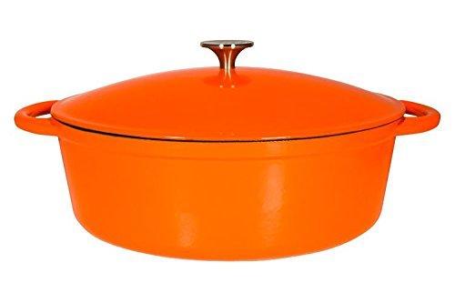 Le Chef Enamel Cast Iron Orange Oval Dutch Oven 7 Qt.