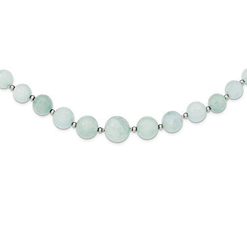 925 Sterling Silver Beaded 6 14mm Graduated Blue Aquamarine Chain Necklace Pendant Charm Gemstone Fine Jewelry Gifts For Women For Her (Graduated Beaded Chain)