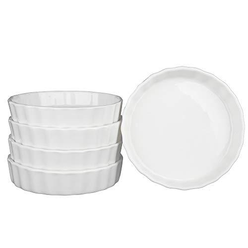 - SZUAH Porcelain Ramekins, Baking Ramekins Set of 5, 5oz (4.9 INCH) for Souffle, Creme Brulee, Appetizer, Custard, Pudding and Ice Cream.