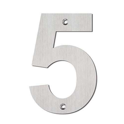Mellewell Morden House Number 5 Inch Stainless Steel Brushed Nickel, Number 5 Five, HN05ABS-5