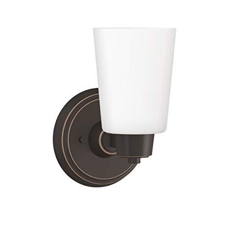 "Park Harbor PHVL2001ORB Windsor Gate Single Light 5-3/8"" Wide Bathroom Sconce with Frosted Glass Shade"