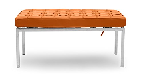 Italian Leather Match Loveseat (Kardiel Florence Knoll Style Bench 2 Seater, Caramel Premium Leather)