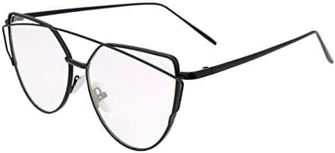 FEISEDY Cat Eye Mirrored Flat Lenses Metal Frame Women Sunglasses UV400 …