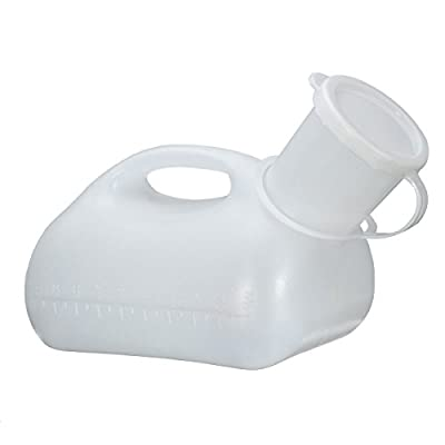 Men Urinal Travel Supplies - White 1000ml Male Urinal Spill Resistant Portable Plastic Pee Bottle Camping Toilet - Work Force Workforce - 1PCs