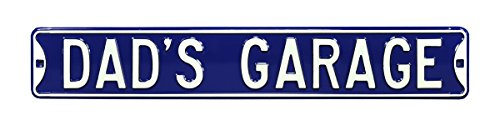 Authentic Street Signs Dad'S Garage Real 3 Foot, Premium Grade, Embossed Metal Street Sign- Prime Wall Decor for Garage, Workshop or Home- Perfect Father'S Day Gift! Steel Sign Embossed Enamel