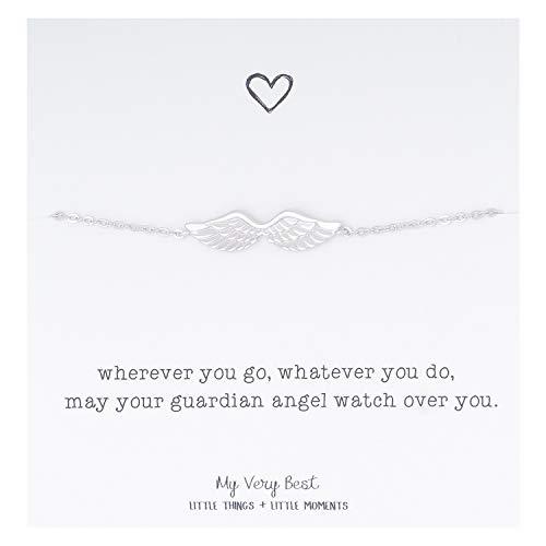 My Very Best Dainty Angel Wing Bracelet (Silver Plated (Guardian Angel Gift)