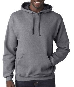 Fruit of the Loom Mens 7.2 oz. Sofspun Hooded Sweatshirt (SF76R) -Charcoal H -M (Fruit Of Loom Hoodie)