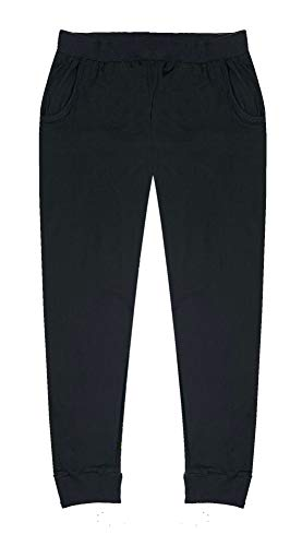Popular Girl's Joggers with Pockets - Solid Black - 8/10