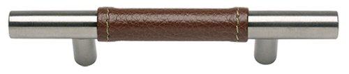 Zanzibar Leather (Atlas Homewares 280-OW/SS 136-mm Zanzibar Leather Pull, Stainless Steel)