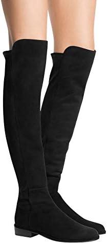Black Suede Low Heel Knee Boot (11.5