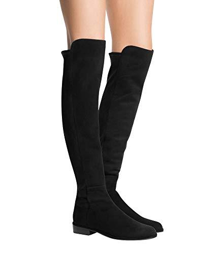 Stuart Weitzman Women's Allgood Black Suede Low Heel Knee Boot (US 11.5, Black)