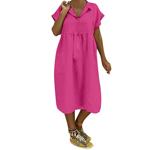 Farmerl Plus Size Dresses for Women Cotton Summer Short Sleeve Loose Lace Dress Hot Pink