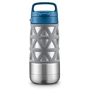 Ello Max Stainless Steel Water Bottle, Grey/Blue, 14 oz