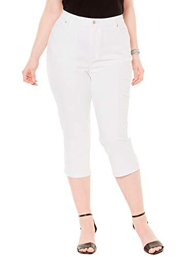 Roamans Women's Plus Size Denim Capri with Invisible Stretch - White Denim, 22 W ()