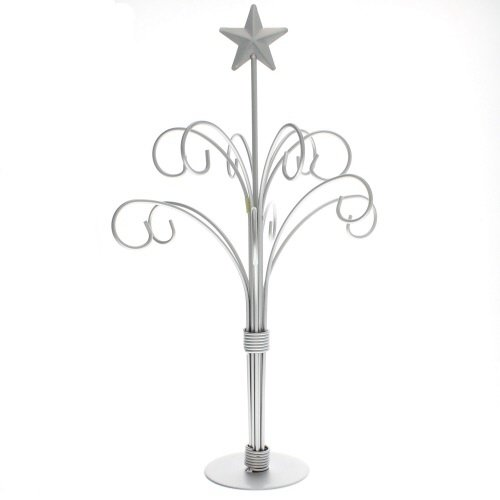 - 12 Arm Ornament Tree - Painted Silver Finish - Changeable Top