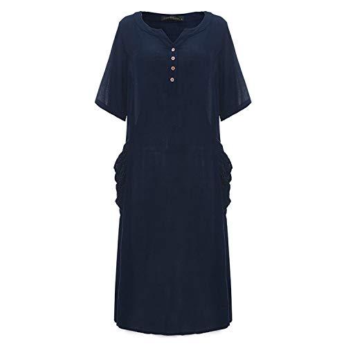 Casaul Loose Ankle-Length Dress V Neck Half Sleeve Pockets Dresses Vestidos Plus Size,Navy,S