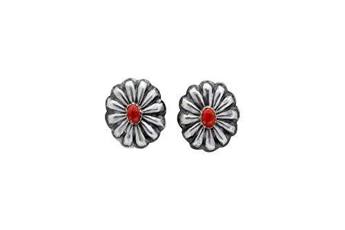 Rita Lee, Earrings, Oval Concho, Spiny Oyster Shell, Navajo Handmade, 1 ()
